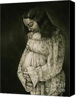 Mother Drawings Canvas Prints - Expecting Canvas Print by Curtis James