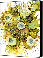 Alcohol Ink Canvas Prints - Exploding Sun Flowers Canvas Print by Christine Crawford