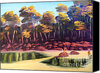 Landscapes Ceramics Canvas Prints - Exploring on Echo Beach Canvas Print by Pamela  Meredith