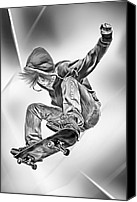 Guy Digital Art Canvas Prints - Extreme Skateboard Jump Canvas Print by Julie L Hoddinott