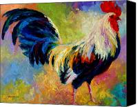 Country Painting Canvas Prints - Eye Candy - Rooster Canvas Print by Marion Rose