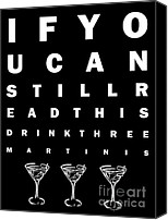 Olive Canvas Prints - Eye Exam Chart - If You Can Read This Drink Three Martinis - Black Canvas Print by Wingsdomain Art and Photography