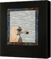 Embroidery Tapestries - Textiles Canvas Prints - Eye Of The Gull Canvas Print by Jenny Williams