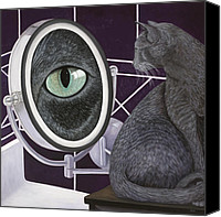 Pet Photography Painting Canvas Prints - Eye See You Canvas Print by Karen Zuk Rosenblatt