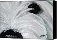 Westies Canvas Prints - Eye See You Too Canvas Print by Mary Sparrow Smith
