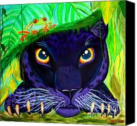 Panther Painting Canvas Prints - Eyes of the Rainforest Canvas Print by Nick Gustafson