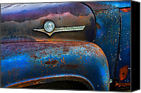 Blue Ford Canvas Prints - F-100 Ford Canvas Print by Debra and Dave Vanderlaan