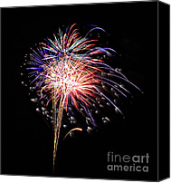 Fireworks Canvas Prints - F R E E D O M Canvas Print by Charles Dobbs