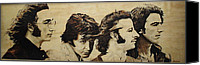 Beatles Pyrography Canvas Prints - Fab Four Canvas Print by Michael Garbe
