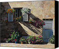 Streetscene Canvas Prints - Facciata In Ombra Canvas Print by Guido Borelli