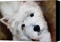 Westies Canvas Prints - Face of Endearment Canvas Print by Mary Sparrow Smith