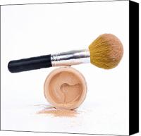 Make-up Canvas Prints - Face powder and make-up brush Canvas Print by Bernard Jaubert