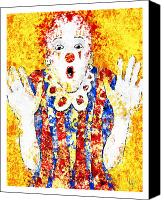 Clown Canvas Prints - FACE YOUR FEARS Fine Art Illustration by Roly O Canvas Print by Roly D Orihuela