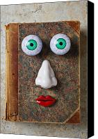 Red Lips Canvas Prints - Facebook old book with face Canvas Print by Garry Gay