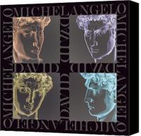 Portraits Tapestries - Textiles Canvas Prints - Faces of David in Negative Canvas Print by Barbara Lugge