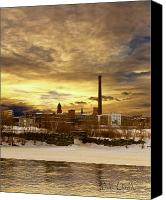 Androscoggin River Canvas Prints - Factory Town Canvas Print by Bob Orsillo