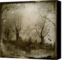Trees Digital Art Canvas Prints - Faded Night Light Canvas Print by Gothicolors With Crows