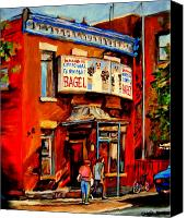 Montreal Restaurants Canvas Prints - Fairmount Bagel Montreal Canvas Print by Carole Spandau