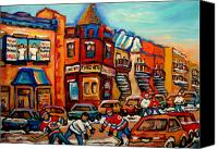 Montreal Street Life Canvas Prints - Fairmount Bagel With Hockey Canvas Print by Carole Spandau