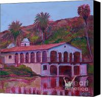 Fairmount Park Painting Canvas Prints - Fairmount Park Boathouse with Drowning Man Canvas Print by Gary Rainsbarger
