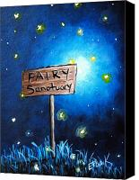 Fantasy Painting Canvas Prints - Fairy art by Shawna Erback The Fairy Sanctuary Canvas Print by Shawna Erback