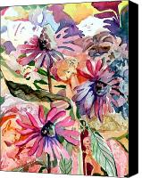 Flowers Drawings Canvas Prints - Fairy Land Canvas Print by Mindy Newman