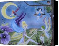 Rj Mcnall Canvas Prints - Fairy Play Canvas Print by RJ McNall
