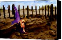 Sand Fences Canvas Prints - Fairy sleeping on the dunes Canvas Print by Shelley Bain