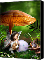 Toadstools Canvas Prints - Fairy Woodland Canvas Print by Julie L Hoddinott