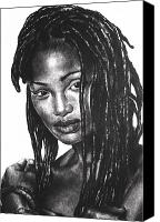 Charcoal Drawing Canvas Prints - Faith Canvas Print by Curtis James