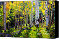 Giclee Trees Canvas Prints - Fall Aspen Forest Canvas Print by Gary Kim