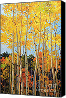 Autumn Foliage Canvas Prints - Fall Aspen Santa Fe Canvas Print by Gary Kim