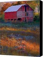 Barn Digital Art Canvas Prints - Fall Barn Canvas Print by Ron Jones