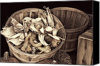 Wood Pyrography Canvas Prints - fall Basket of Vegetables - Sepia Canvas Print by Linda Phelps