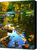 Simulation Canvas Prints - Fall Color At The River Canvas Print by Suni Roveto