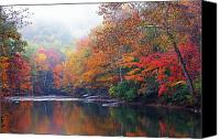 Rushing Mountain Stream Canvas Prints - Fall Color Williams River Mirror Image Canvas Print by Thomas R Fletcher