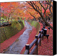 Fence Canvas Prints - Fall Colors Along Bending River In Kyoto Canvas Print by Jake Jung