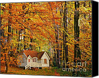 Yellow Trees Canvas Prints - Fall Cottage Canvas Print by Cheryl Young