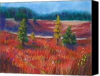 Rural Landscapes Pastels Canvas Prints - Fall Cross the Meadow Canvas Print by Wynn Creasy