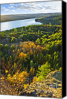 Evergreen Canvas Prints - Fall forest and lake top view Canvas Print by Elena Elisseeva