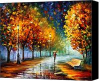 Afremov Canvas Prints - Fall Marathon Canvas Print by Leonid Afremov