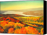 Acrylic Mixed Media Canvas Prints - Fall On Hudson River - New York State Canvas Print by Dan Haraga
