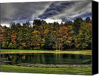 Indiana Autumn Canvas Prints - Fall on the Lake Canvas Print by Sharon Meyer