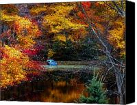 Rowboat Canvas Prints - Fall Pond and Boat Canvas Print by Tom Mc Nemar