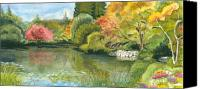 Watercolor Landscape Canvas Prints - Fall Reflections Butchart Gardens Canvas Print by Vidyut Singhal