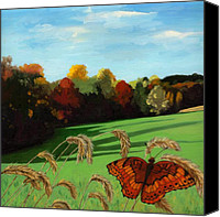 Linda Apple Canvas Prints - Fall scene of Ohio nature painting Canvas Print by Linda Apple