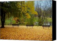 Park Benches Canvas Prints - Fall Series 13 Canvas Print by Anita Burgermeister