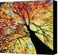 Beata Canvas Prints - Fall Tree Oil Painting Canvas Print by Beata Sasik