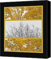 Storm Mixed Media Canvas Prints - Fall Wind Triptych Canvas Print by Steve Ohlsen