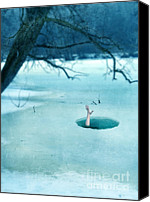 Woman In Water Photo Canvas Prints - Fallen Through the Ice Canvas Print by Jill Battaglia
